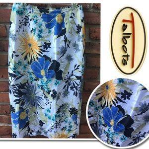 TALBOTS Floral Long Linen Pencil Skirt Size 6